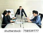business meeting and successful ...   Shutterstock . vector #758539777