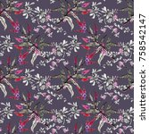 watercolor seamless pattern... | Shutterstock . vector #758542147