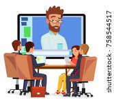 online video conference vector. ... | Shutterstock .eps vector #758544517