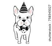 cute vector dog in winter...   Shutterstock .eps vector #758545027