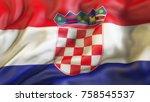 flag  waiving flag of croatia   Shutterstock . vector #758545537