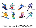 set of vector sportsmen