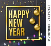 2018 new year background for... | Shutterstock .eps vector #758547637