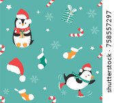 holiday pattern with funny... | Shutterstock .eps vector #758557297