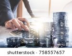 double exposure of businessman... | Shutterstock . vector #758557657