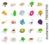 street cafe icons set.... | Shutterstock .eps vector #758558743