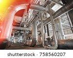 industrial steel pipelines ... | Shutterstock . vector #758560207