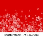 white snowflakes falling on red ... | Shutterstock .eps vector #758560903