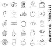 continental breakfast icons set.... | Shutterstock .eps vector #758561113