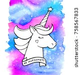 unicorn. magical animal. vector ... | Shutterstock .eps vector #758567833