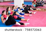 group of women are doing box... | Shutterstock . vector #758572063
