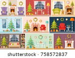 set of vector christmas... | Shutterstock .eps vector #758572837