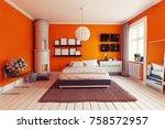modern orange bedroom with ... | Shutterstock . vector #758572957