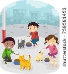 illustration of stickman kids... | Shutterstock .eps vector #758581453