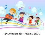 illustration of stickman kids... | Shutterstock .eps vector #758581573