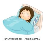 illustration of a sad kid girl... | Shutterstock .eps vector #758583967