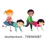 illustration of stickman kids... | Shutterstock .eps vector #758584087