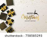 merry christmas and happy new... | Shutterstock .eps vector #758585293