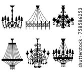 crystal chandelier silhouettes... | Shutterstock .eps vector #758586253