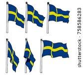 sweden flag on pole vector drawn   Shutterstock .eps vector #758586283