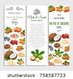 banner template with nuts and... | Shutterstock .eps vector #758587723