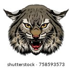 angry stylized bobcat head.... | Shutterstock .eps vector #758593573