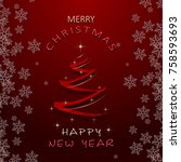 christmas and new year greeting ... | Shutterstock .eps vector #758593693
