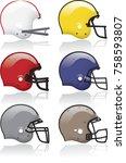 vector helmet with facemask... | Shutterstock .eps vector #758593807