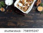 cinnamon rolls or cinnabon for... | Shutterstock . vector #758595247