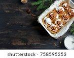 cinnamon rolls or cinnabon for... | Shutterstock . vector #758595253
