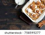 cinnamon rolls or cinnabon with ... | Shutterstock . vector #758595277