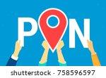 location pin concept vector... | Shutterstock .eps vector #758596597