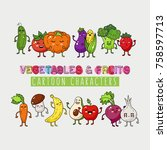 organic vegetables and fruits... | Shutterstock .eps vector #758597713