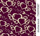 vector seamless pattern with... | Shutterstock .eps vector #758599387