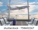 airport departure lounge.... | Shutterstock . vector #758602267