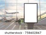 airport departure lounge. blank ... | Shutterstock . vector #758602867