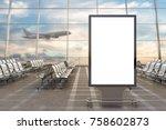 airport departure lounge. blank ... | Shutterstock . vector #758602873