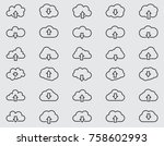 cloud line icons set  outline... | Shutterstock . vector #758602993
