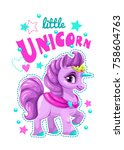 little cute cartoon unicorn... | Shutterstock .eps vector #758604763
