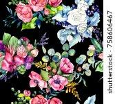 wildflower bouquet pattern in a ... | Shutterstock . vector #758606467