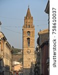 Small photo of Teramo /Abruzzi, Italy): the main street of the city with the belfry of the cathedral