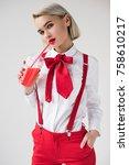 stylish girl posing in white... | Shutterstock . vector #758610217