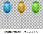 realistic blue  yellow and... | Shutterstock .eps vector #758611477