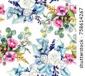 wildflower bouquet pattern in a ... | Shutterstock . vector #758614267
