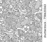 cartoon cute doodles hand drawn ... | Shutterstock .eps vector #758620363
