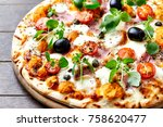 pizza with mozzarella  ham ... | Shutterstock . vector #758620477
