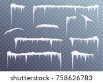 snow icicles isolated on... | Shutterstock .eps vector #758626783