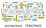 Stock vector hiring people concept vector creative illustration of vacancy word lettering typography with line 758629603