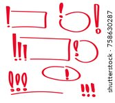 set hand drawn exclamation mark.... | Shutterstock .eps vector #758630287