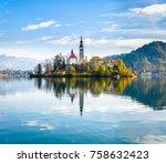 lake bled slovenia. beautiful... | Shutterstock . vector #758632423